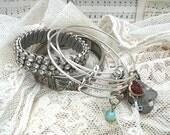 mix bracelet stack bangle charm assemblage rhinestone shabby chic