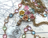 spring necklace assemblage flower bird medal eco friendly jewelry