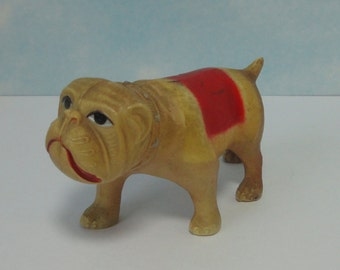 1930s English Bulldog Celluloid Rattle Toy marked Viscoloid USA