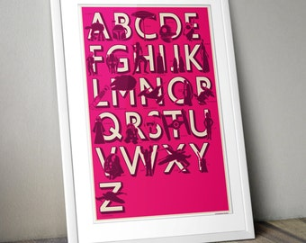 Star Wars, Star Wars Print, Star Wars Alphabet Print, Inspired, Retro Kids Room Print, Pink, Purple, A3, Star Wars Gift Star Wars Kids