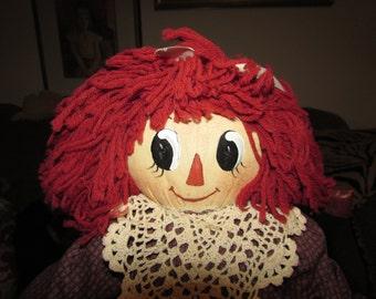 Adorable  Hand Made Artist  RAGGEDY Ann Cloth DOLL