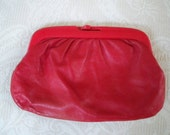 Vintage Purse Red Italian Leather Clutch