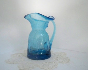 Vintage Collectible Blue Cackle Glass Decorative Small Pitcher