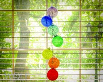 Blown Glass Ornament Suncatcher Rainbow Cascade Chain Decor
