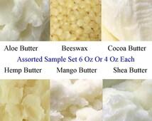 Butter Sample Set - Aloe Butter, Beeswax Pellets, Cocoa Butter, Hemp Butter, Mango Butter, Shea Butter - Lotion Butters - Lip Balm Butters
