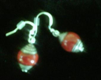 Tibetan Red Jade Earrings