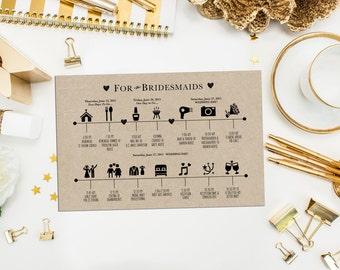 Bridesmaids and Groomsmen Wedding Timeline. Custom Wedding Schedule of Events. Kraft Wedding Timeline. Icon Timeline.