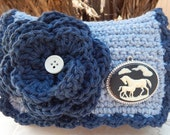 Crocheted Purse  ~  Stonewash Denim and Indigo Denim with Horse Cameo Style Pendant Crocheted Cotton Little Bit Purse