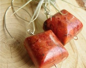 Faceted Pillows of Red Coral and Sterling Silver Earrings
