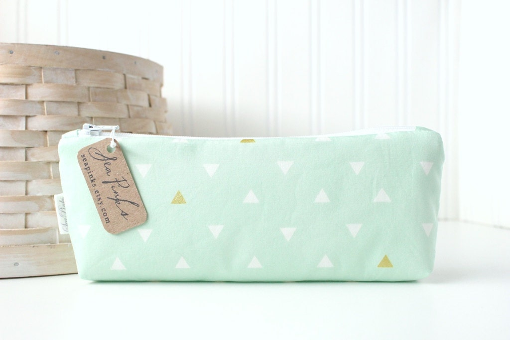 Mint Green Pencil Bag Mint And Gold Geometric Triangles Cute