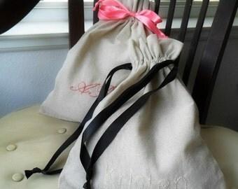 Personalized Lingerie bag  travel organizer drawstring linen bag  Bridesmaids Party favor Lingerie Shower Fabric Gift Bag Newborn Wardrobe