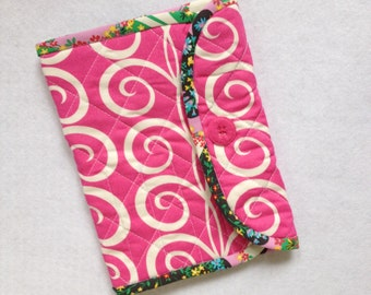 Crochet Hook Case - hot pink tendrils quilted cotton carrying case, Clover large hooks, tri fold hook storage wallet, Pillow and Maxfield