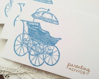 Baby Shower Carriage Wish Cards Parenting Advice Set of 25