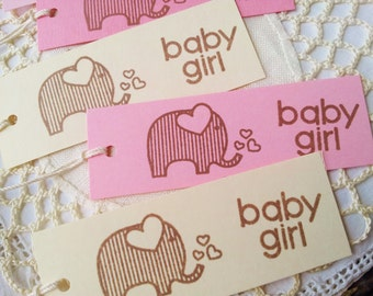 Elephant Tags Baby Shower Baby Girl Pink and Ivory Set of 20