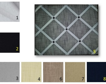 Solid Linen French Memo Board  with Ribbon 24 x 48 -  Bulletin Board - Your choice of fabric and  ribbon colors - Free Dom