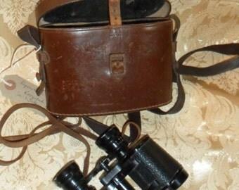 Vintage Binoculars in leather box.