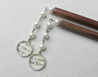 Jane Eyre Literature Hair Sticks Charlotte Bronte Glass Pearls Boho. Wedding Bridal Cream Silver Words Princess Bookish