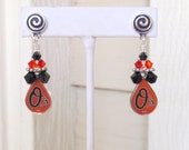 Baltimore Orioles Earrings, Orange and Black Crystal Pro Baseball Post Earrings, Baseball Accessory, Baseball Bling