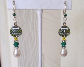 Portland Timbers Earrings, White Pearl, Green and Yellow Crystal Leverback Earrings, Soccer Earrings, Pro Soccer Accessory