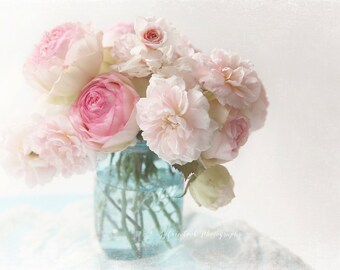Pink rose photograph,shabby chic, Fine art print,aqua,white,cottage, pastel,flower photography,floral