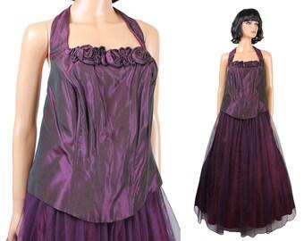 80s 90s Prom Dress Sz XL NOS Vintage Dark Plum Purple Long Taffeta Tulle Halter Gown Free US Shipping