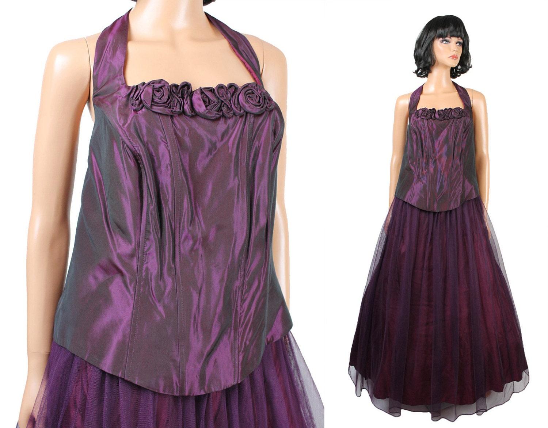 80s 90s Prom Dress Sz XL NOS Vintage Dark Plum Purple Long