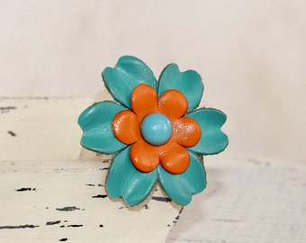 Teal and Orange Flower ,Leather Flower -Dog Collar Loop