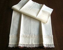 Table Cloth Towels Vintage Runner Kitchen Bath Guest Hand Towel Ruffle NEW Brown Edge