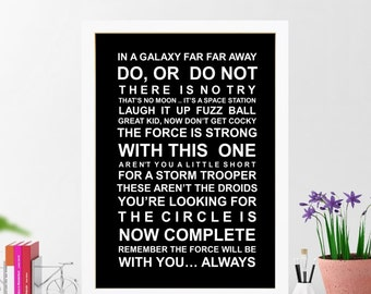 Star wars quotes wall art poster