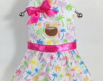 Its Five Oclock Somewhere Palm Trees Dog Dress Size XXXS through MEDIUM by Doogie Couture
