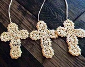 Crochet cross bookmark set of three