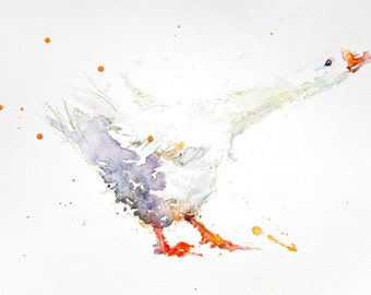 LIMITED edition print of   white GOOSE archival  paper.(H28) hand signed, illustration, animal art