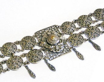 Antique French Silver Tone Etruscan Revival Filigree Bracelet