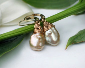 Clearance Sale | Golden Keshi Petal Earrings | Vintage Gold Champagne Freshwater Pearls | 14k Gold Fill Leverbacks | Gift Ready to Ship