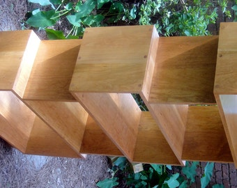 Bookcase Cherry Mid Century with Extra High Bottom Shelf For 15 Books