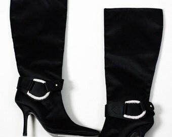 OSCAR de la RENTA Elegant Knee High Black Satin Rhinestones Boots Size 7 8