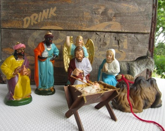 Vintage Nativity Creche made in Germany Mary Joseph Baby Jesus Angel Wisemen Camel
