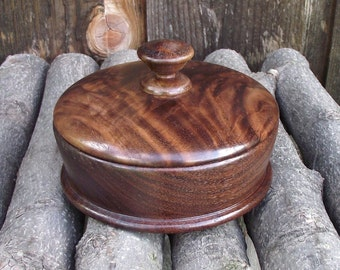 Walnut Wood Box - Hand Turned Lidded Wooden Box - Wood Box with Lid - Great gift idea