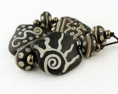 SRA Lampwork Glass Bead Set Etched Matte Rustic Organic Black Beige Ivory 'Chimney Smoke'