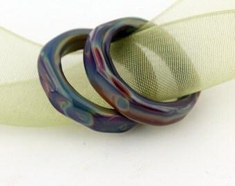 Lampwork Glass Bead Slider Rings Blue Green Purple Beads Links Spacers SRA