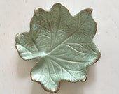 Vintage 1950s Mid Century Mint Green Ceramic Dish With Gold Edging By California Originals