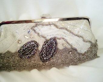evening purse, handmade purse, winter wedding, silver purse, applique bag, silver lace bag, rhinestone bag, evening clutch