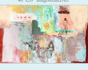 Large Painting canvas, 40x26 Wall Art, Abstract mixed media, turquoise, green, pink, Spanish Art