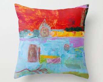 Art pillow cover, pillow case, decorative throw pillow, spun poplin, turquoise red