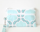 Cell Phone Wristlet, 2 Zipper Pocket Clutch Purse, Phone Wallet, Blue and Teal