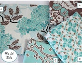 Four Piece Crib Set Choose Your Own Fabrics Joel Dewberry Birch Farm Aqua Brown New Baby Bedding