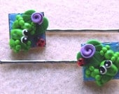 Froggy Hair Pins with Ladybug Friends OOAK Polymer Clay