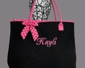 Personalized Extra Large Quilted Tote Bag Black With Fuchsia Trim