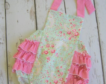 Sweet Baby Paisley Retro romperVintage style romper, Baby ruffle bubble sunsuit, custom order sizes 0-3mo, 3-6mo,6-12mo, 12-18mo, 18-24mo.