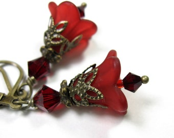 Red Flower Earrings, Crimson Floral Swarovski Crystal Jewelry, Gifts for Gardeners, Affordable Romantic Jewelry, Mom Gifts, Christmas Gifts